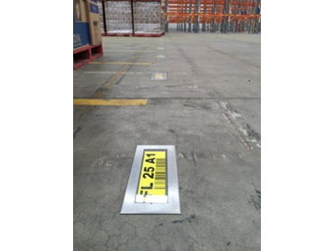 In warehouse Floor ID Signs