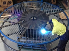 An offshore reel under manufacture