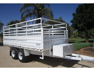 White 4.2m x 2.1m trailer up to 4.5 tonne GVM with optional extras such as stock crate (sheep/cattle/pigs) tipping kit, removable fold down sideboards.