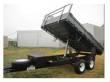Hammertone tipping trailer with removable foldown sideboards, headboard, toolbox and spare tyre