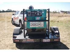 Redstar's trailer-mounted Denyo DCW-480ESW dual operator diesel welder for onsite demo