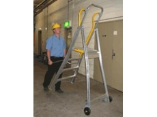 Tilt-n-Tow mobile work platform ladder