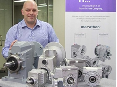 Dean Hansen, Regal SEAP Product Manager, Gearboxes/Power Transmission, showcasing a selection of the new Marathon Gearbox range