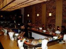 MODU Sushi belt conveyor train at Kinoko Sushi Wave restaurant