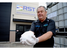 RST's Paul Heimburger with Geosorb product following its reaction in water