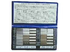 Surface roughness gauge sets from Robinson International include a metric and imperial measurement chart