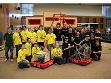 FIRST winning Teams 3132 (Thunder Down Under) and 4788 (Curtain Robotics)