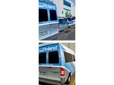 Roland DG vehicle, featuring metallic ink vehicle wrap