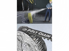Highly aggressive caustic solutions or water-based cleaning have no effect on Gates poly chain belts
