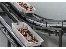Rydell and Uni Chains solve box and tote handling problems on incline and decline conveyors in the meat industry