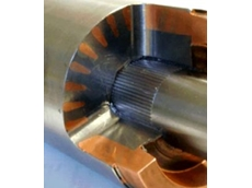 A sectional view of the SEW-EURODRIVE DTE/DVE cast-copper rotor.