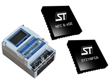 ST's NFC power meter solution consists of an NFC contactless interface (ST21NFCA) and a Secure Element (ST33F1M)