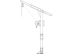 Davit abseil and rescue system with davit boom, mast and base