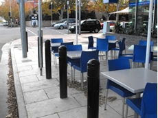 Omni Stop bollards installed at a roadside cafe