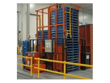 Double Pallet Dispensers are ideal for safely storing accumulating pallets