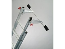 Support bar increases effective width of any ladder.