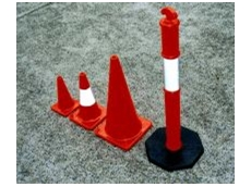 Traffic safety cones and bollards.
