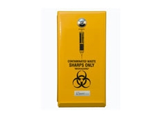 Tamper resistant, lockable, Sanokil Sharps Disposal Containers available from Sanokil Sanitary Services