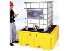 IBC spill containment units can be easily forklifted into place