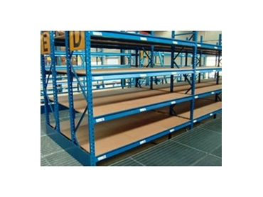 Longspan shelving with plywood decking panels