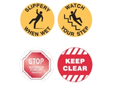 Outdoor-grade safety floor markers are available with a range of messages