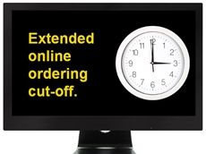 Cut-off time for online orders and same day delivery extended to 3pm