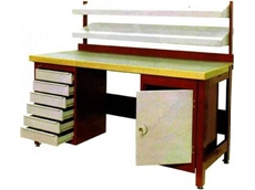 Non standard maroon and cream colour workbench