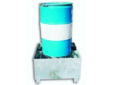 One-drum galvanised spill pallet.