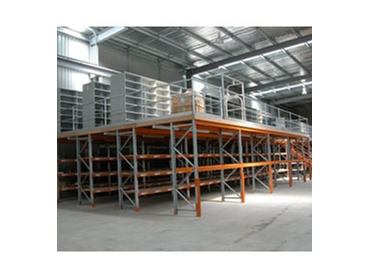 Pallet racking shelving and raised storage area