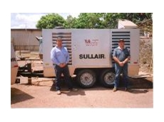 Mark Chedgey, Sullair Australia Mackay Branch Manager (right), and Shane Brown, NQ Blasting and Coating Weipa manager.