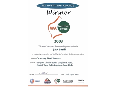 WA Nutrition Award for the Catering Food Service Category