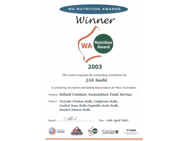 WA Nutrition Award for the School Canteen Association Food Service Category
