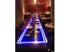 The spectacular Magic Carpet 'floating' sushi conveyor system installed by Sushi Machines Australia