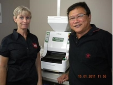 Kym and Melvin with ASM860 Maki Robot