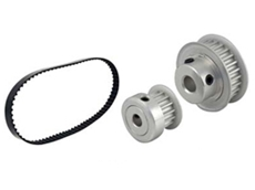 Timing belts and pulleys are available in corresponding sizes