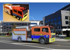 A scale model of a fire truck allows customers to visualise the end result