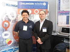 Technofast Industries managing director John Bucknell (left) with Klinger Limited's Australian managing director Jon Lyons at the AIMEX mining exhibition in Sydney