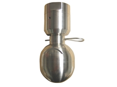Slotted spray ball for cleaning manufacturing equipment