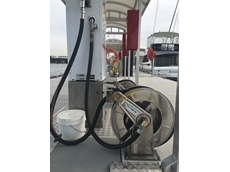 Tecpro's spring retractable hose reel at the Birkenhead Point Marina fuel wharf