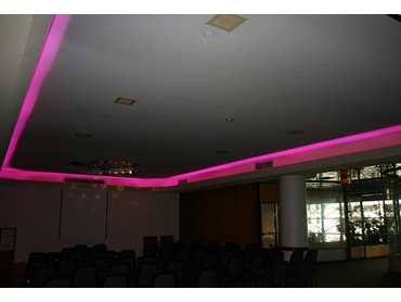 Utilise striking LED lighting colours to define different spaces in your venue