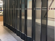 Folding closures with perforated aluminium metal infill at Deakin University Library