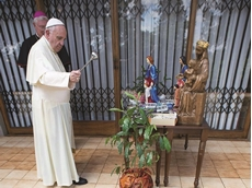 The Pope is seen conducting a religious ceremony in Kenya with S09 Alumax trellis security doors in the background