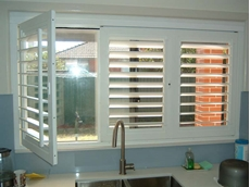 Security365 lockable plantation shutters in a kitchen application