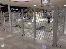 Swarovski store in Stockholm featuring expandable gates
