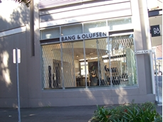 The Australian Trellis Door Company installs expanding trellis security doors at Bang & Olufsen's new flagship store