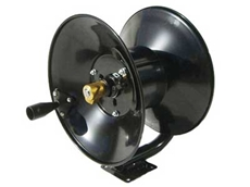 The hose reel is made from steel with a brass and stainless steel swivel hub