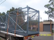 Lifting cages forklift and crane from the Plant Yard