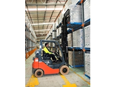 One of the new Toyota forklifts at Natures Organics