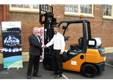 FRM Toyota's General Manager Peter Brown (L) launches the CNG forklift initiative with Tas Gas representative Stephen Bayley