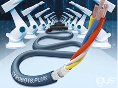 CFROBOT8.PLUS: Chainflex Ethernet cable for 15 million torsional movements up to 360 degrees and fast data transmission to 6-axis robots.